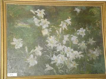 799: Oil painting, green with white lillies.  Signed S.