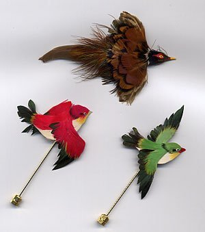 1202: 3 real feather bird pins