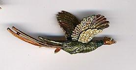 1205: Rhinestone pheasant pin