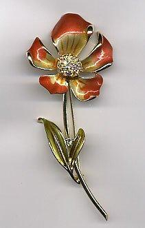 1207: Enamel peach flower pin