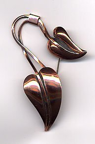 1209: Copper pin of 2 leaves