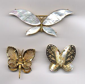 1215: 3 butterfly pins