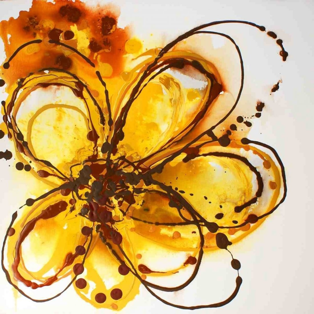 "Yellow Splash, Irena Orlov, Acrylic on canvas 24x24"""