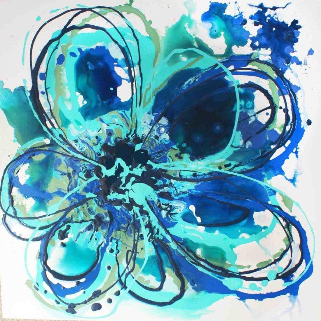 "Blue Abstract Splash, Irena Orlov, Acrylic-canvas24x24"""