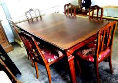 Solid Cherry Wood - (6) Chair  &  (2) Leaf Dining Table