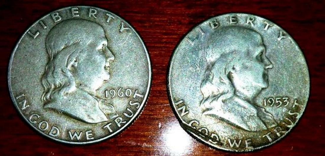 1953 & 1960 Franklin Half Dollar