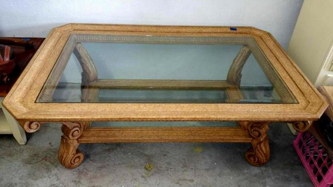 Scroll Detail Coffee Table with Beveled Glass Top  &