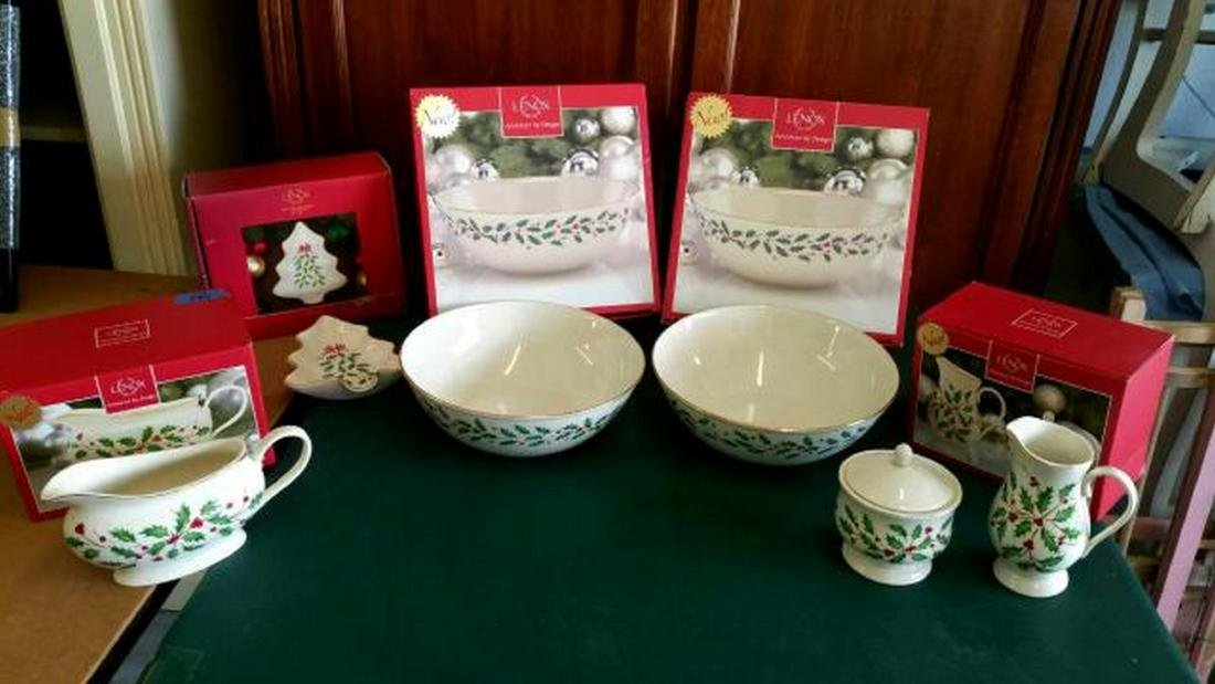 LENOX Lot of Holiday Table Serving Pieces, Christmas