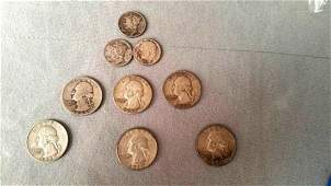 9 piece Silver US Coin Lot