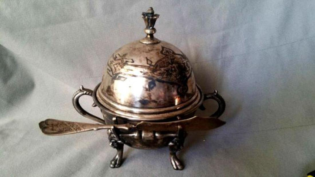 SILVER-PLATED VICTORIAN BUTTER DISH - 4