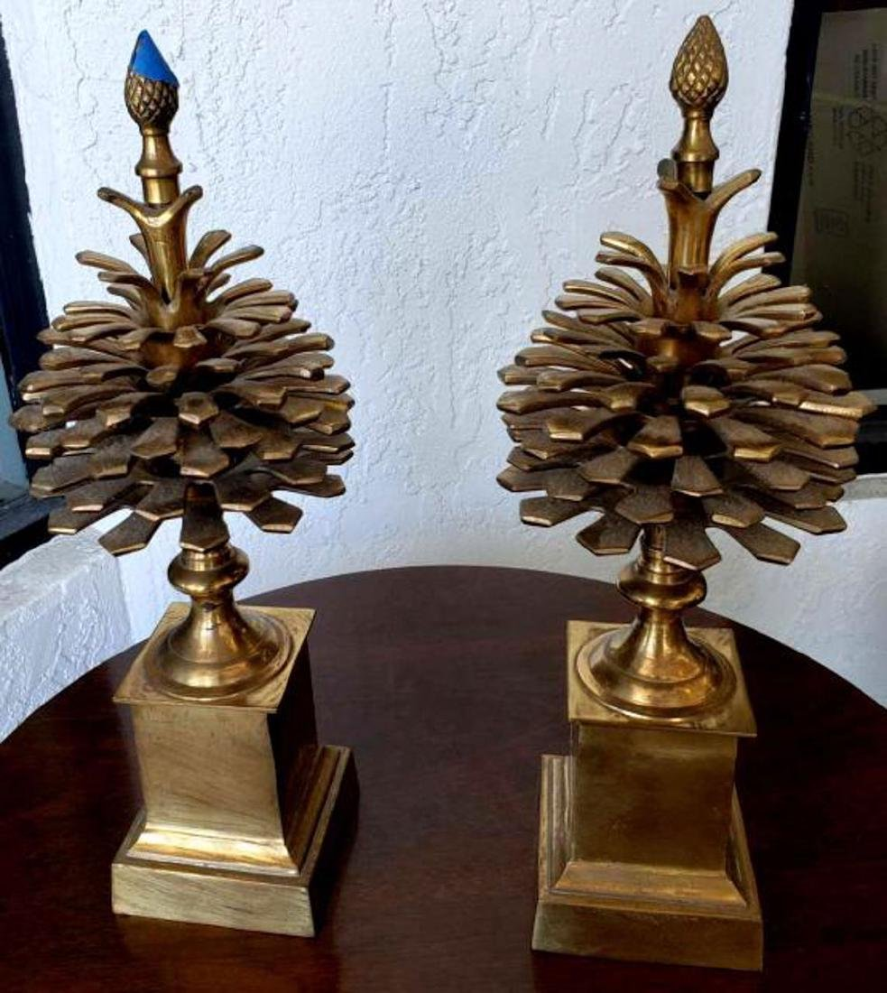 """MOTTAHEDEH - Pair 16"""" Brass Colonial Pinecone Pine Cone"""