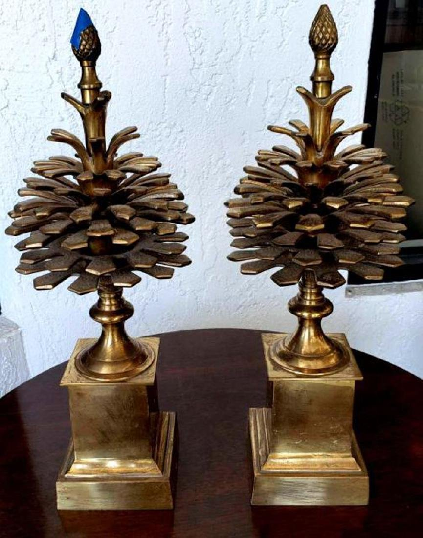 """MOTTAHEDEH - Pair 16"""" Brass Colonial Pinecone Pine Cone - 2"""