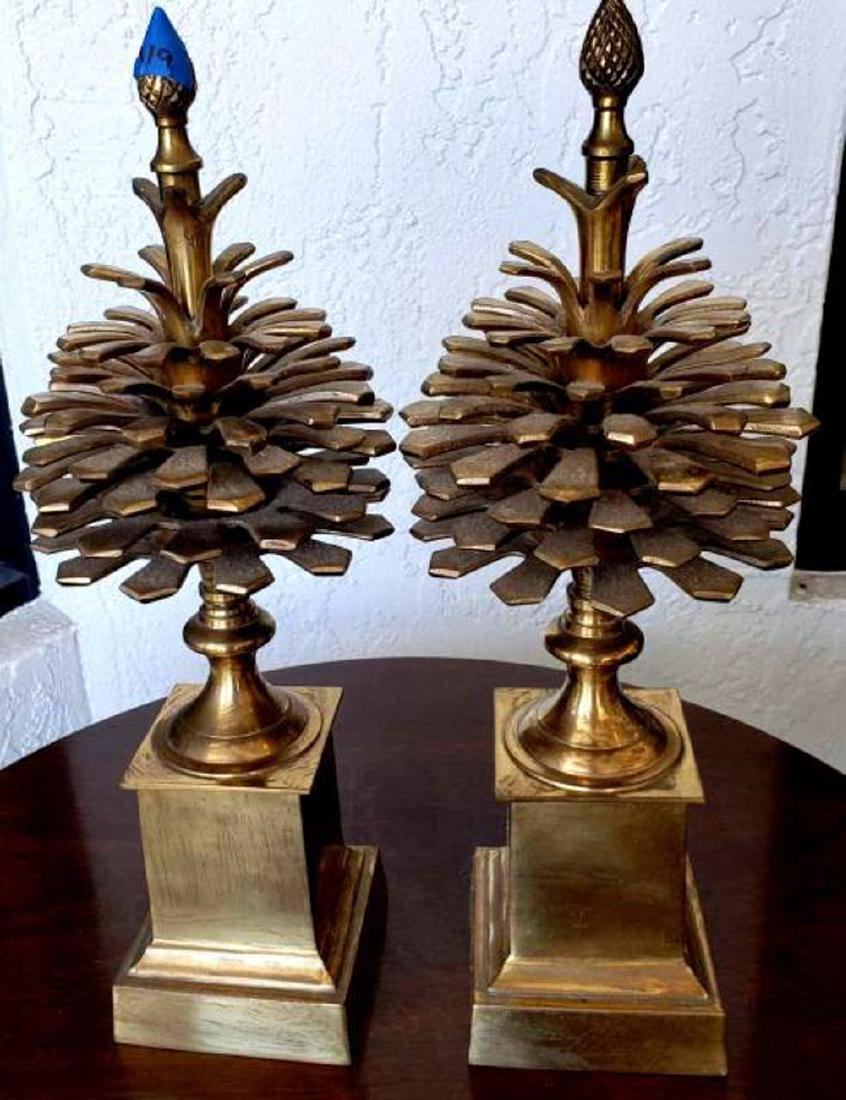 """MOTTAHEDEH - Pair 16"""" Brass Colonial Pinecone Pine Cone - 3"""