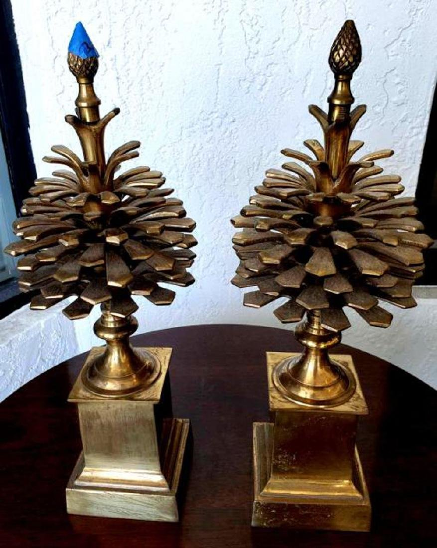 """MOTTAHEDEH - Pair 16"""" Brass Colonial Pinecone Pine Cone - 4"""
