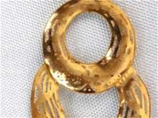 14k Yellow Gold Double Hoop Filigree Dangle Earrings