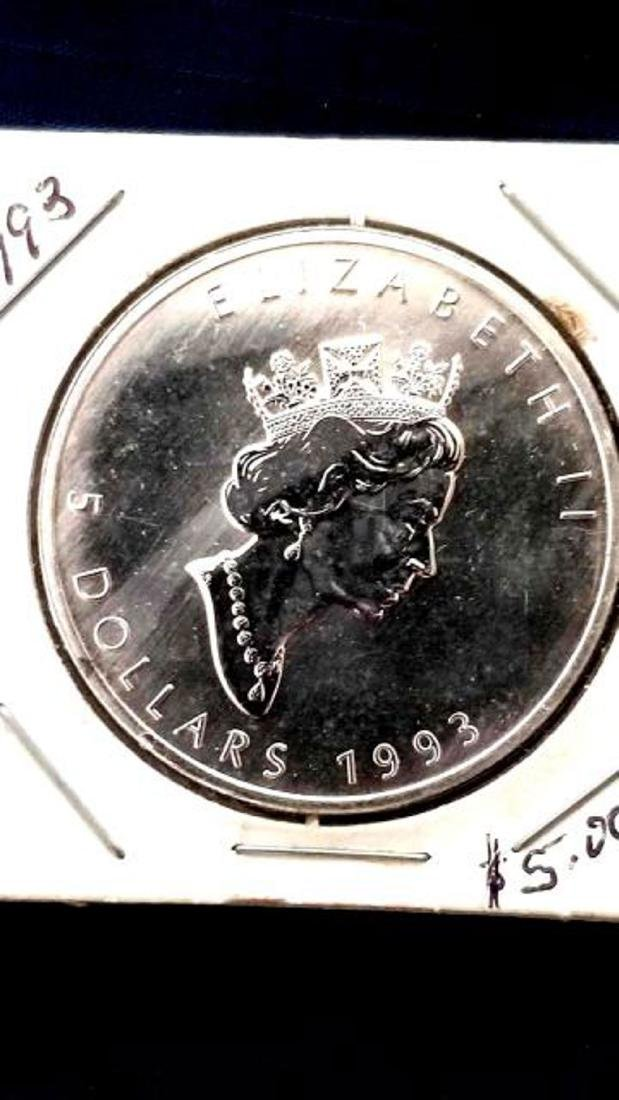 1993 FIVE DOLLAR CANADA COIN, FINE SILVER