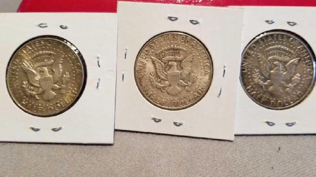 THREE (3) 1964 KENNEDY HALF DOLLARS, .900 SILVER  No - 5