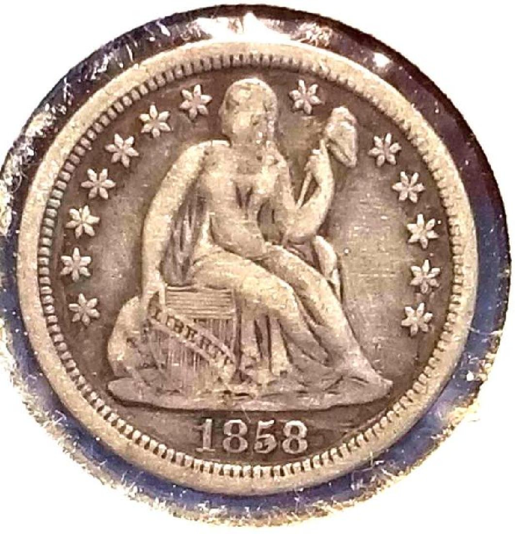 1858 SEATED LIBERTY ONE DIME - 2