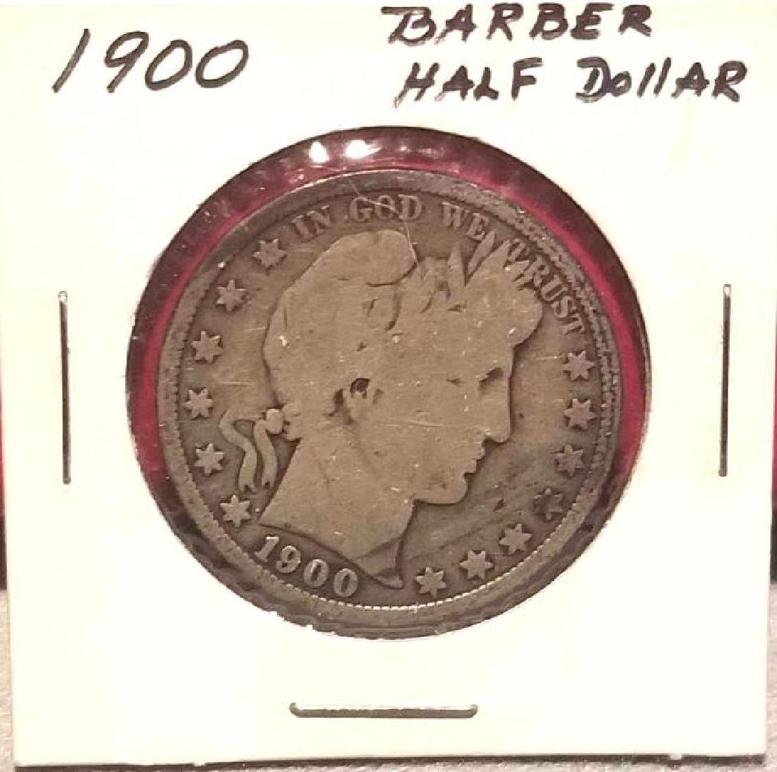1900 Barber half dollar   In circulated condition
