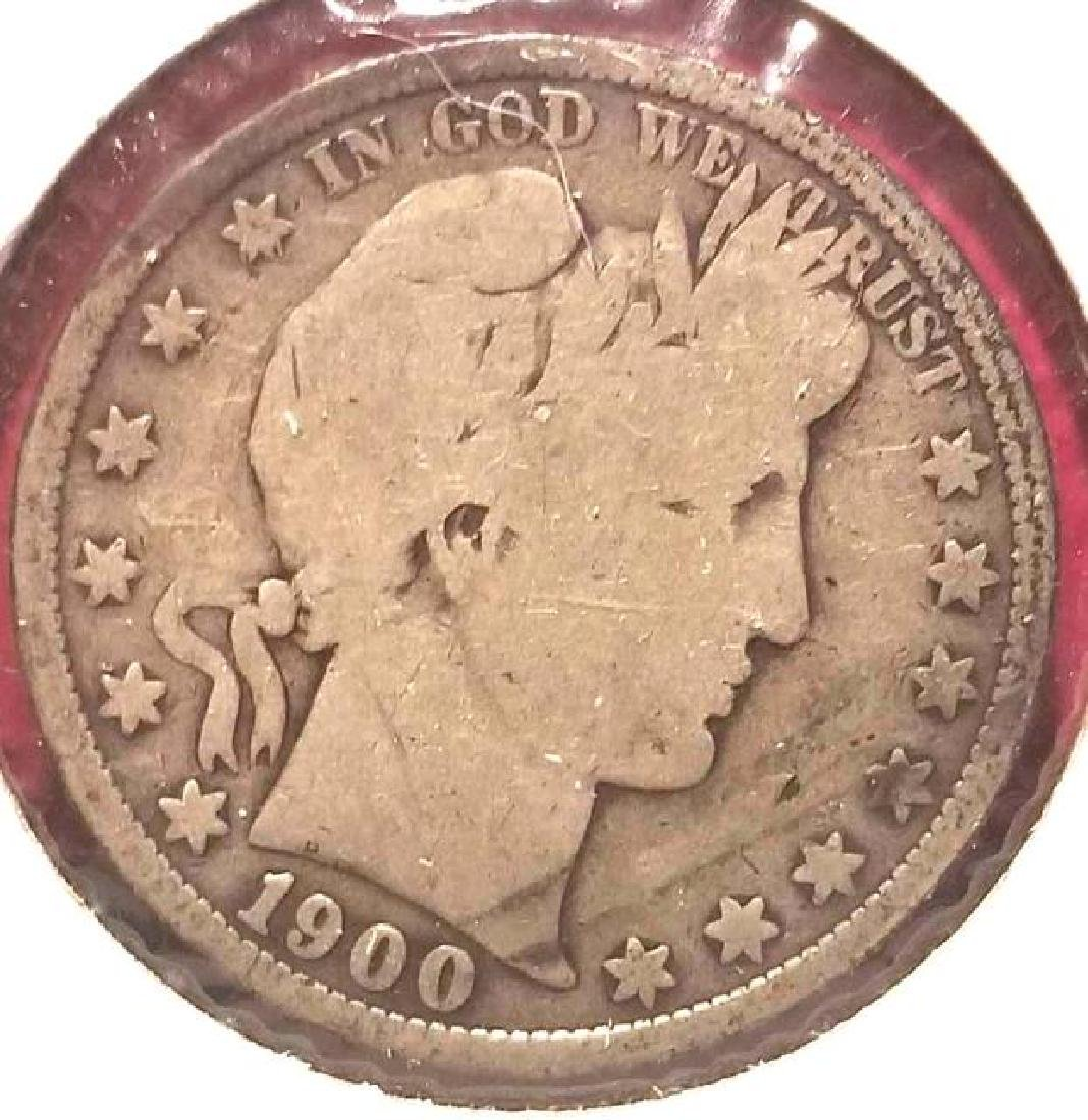 1900 Barber half dollar   In circulated condition - 2