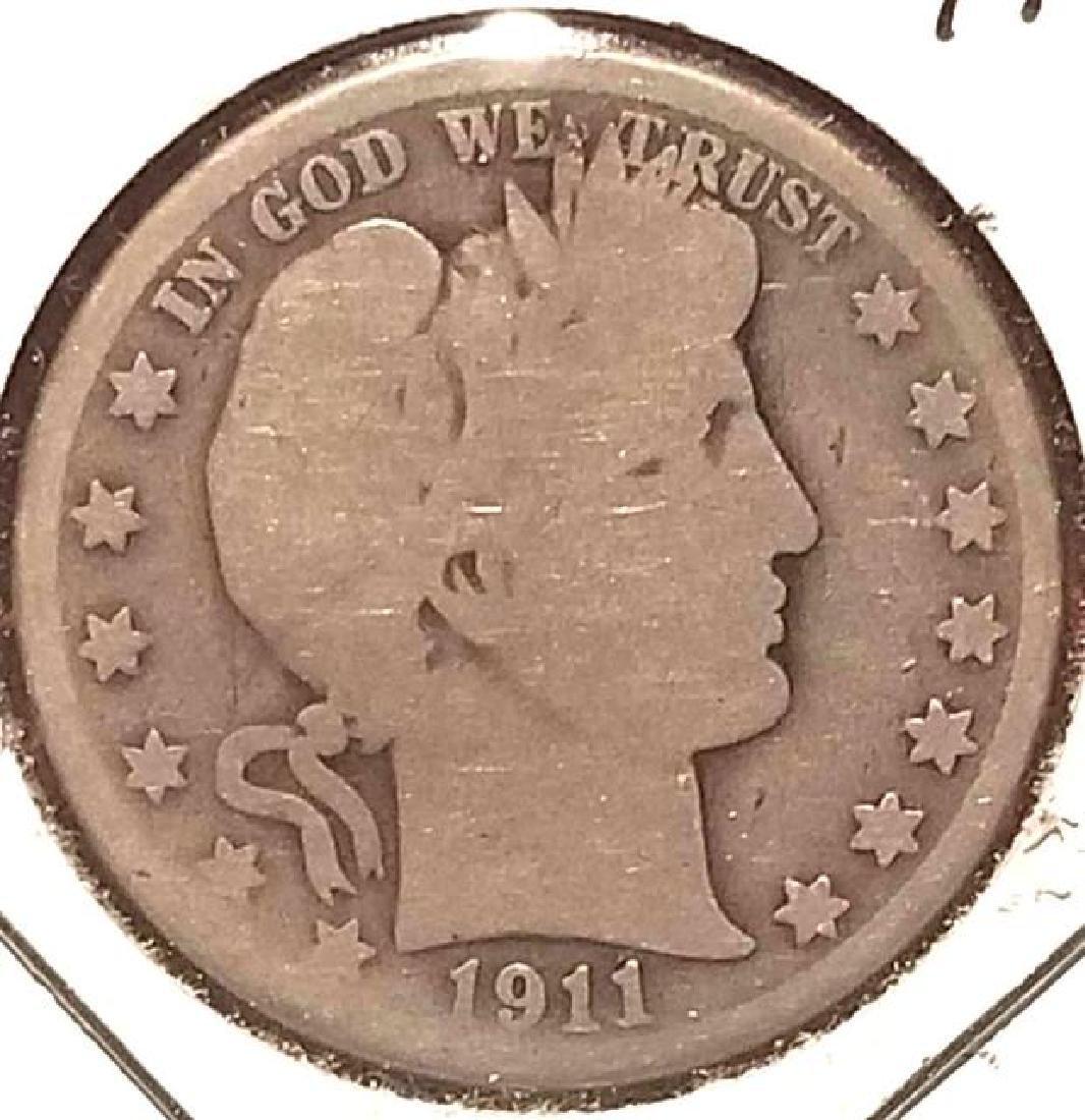 1911-D BARBER HALF DOLLAR .900 SILVER  In circulated - 2