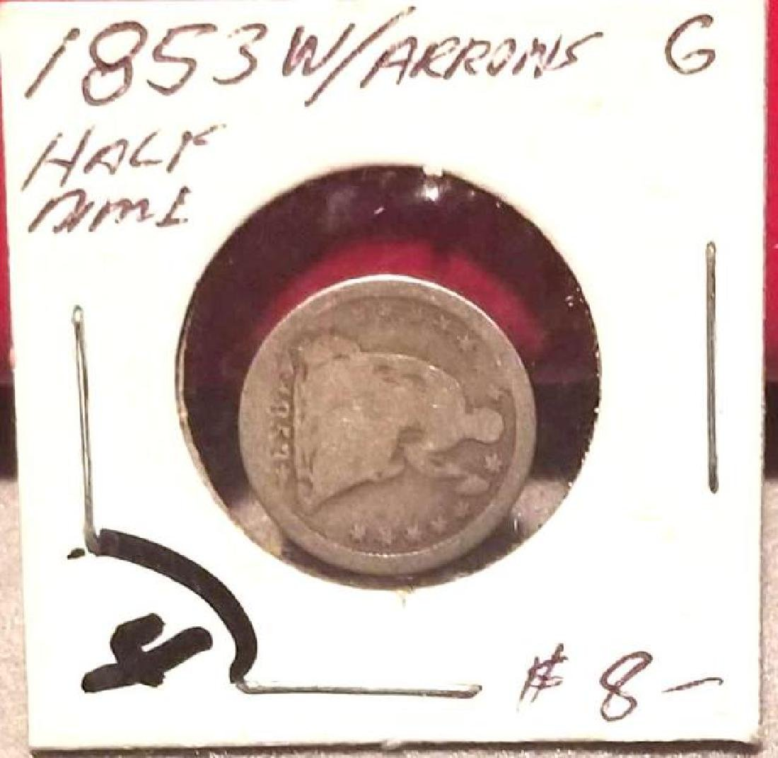 1853 SEATED LIBERTY SILVER HALF DIME  With arrows at