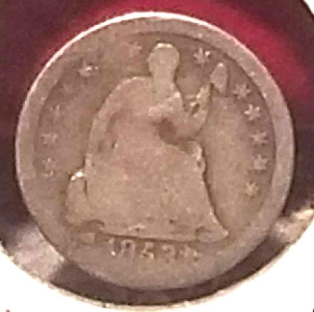 1853 SEATED LIBERTY SILVER HALF DIME  With arrows at - 2
