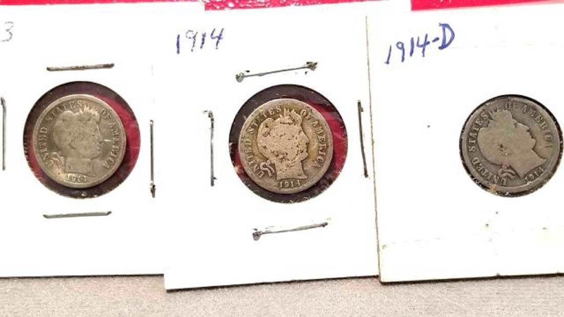 BARBER DIME LOT, 23 COINS FROM 1911-1916  1911-D (2) - 10