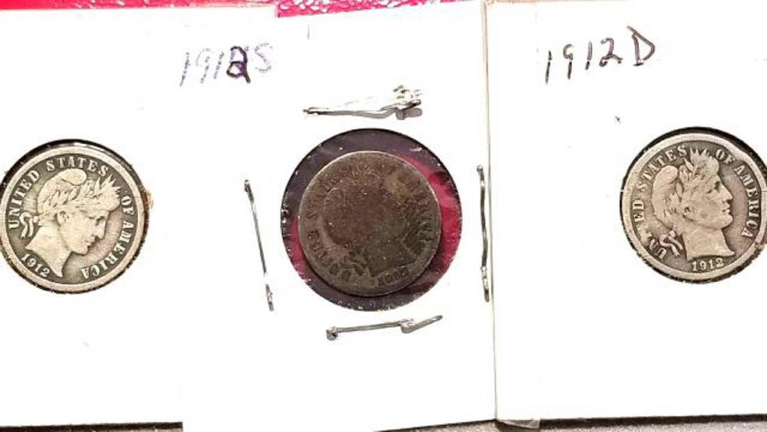 BARBER DIME LOT, 23 COINS FROM 1911-1916  1911-D (2) - 8