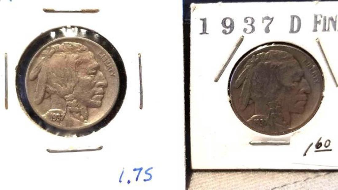 12 BUFFALO NICKELS 1937-1938  copper nickel - 8