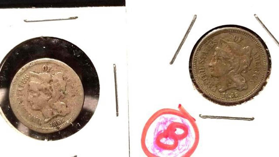 TWO (2) 1865 THREE-CENT PIECES