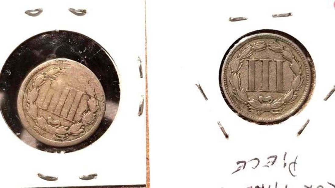 TWO (2) 1865 THREE-CENT PIECES - 2