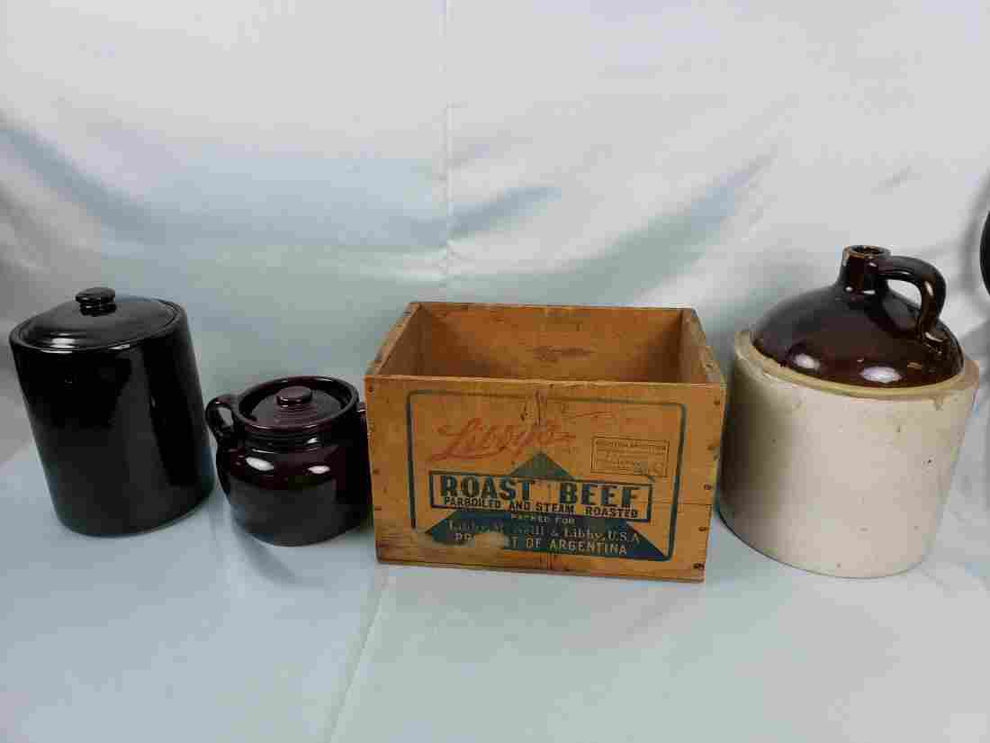 LOT OF 2 gallon SPIRIT JUG, POTS, LIBBY'S BOX