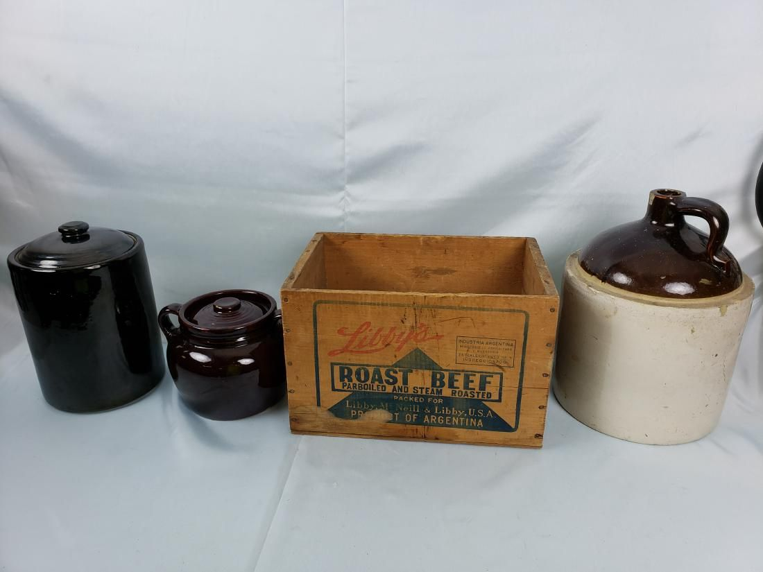 LOT OF 2 gallon SPIRIT JUG, POTS, LIBBY'S BOX