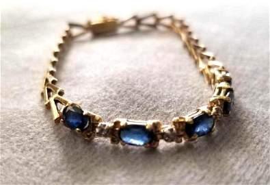 DIAMOND, SAPPHIRE & 14k YELLOW GOLD FANCY LINK BRACELET