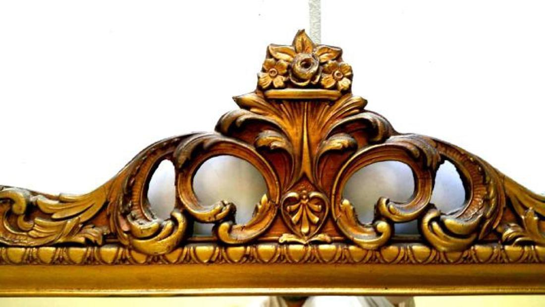 GOLD GILT WOOD FRAME MIRROR, LOUIS XVI STYLE, ORNATE - 2