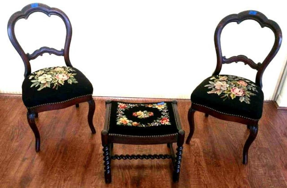 Pair of balloon-back chairs with needlepoint seats
