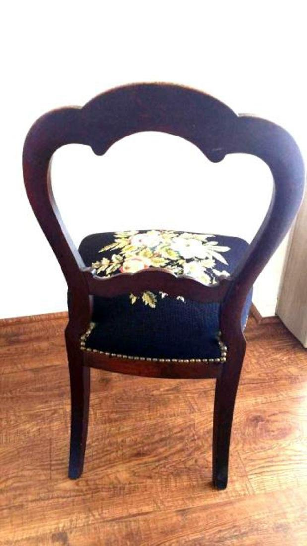 Pair of balloon-back chairs with needlepoint seats - 4