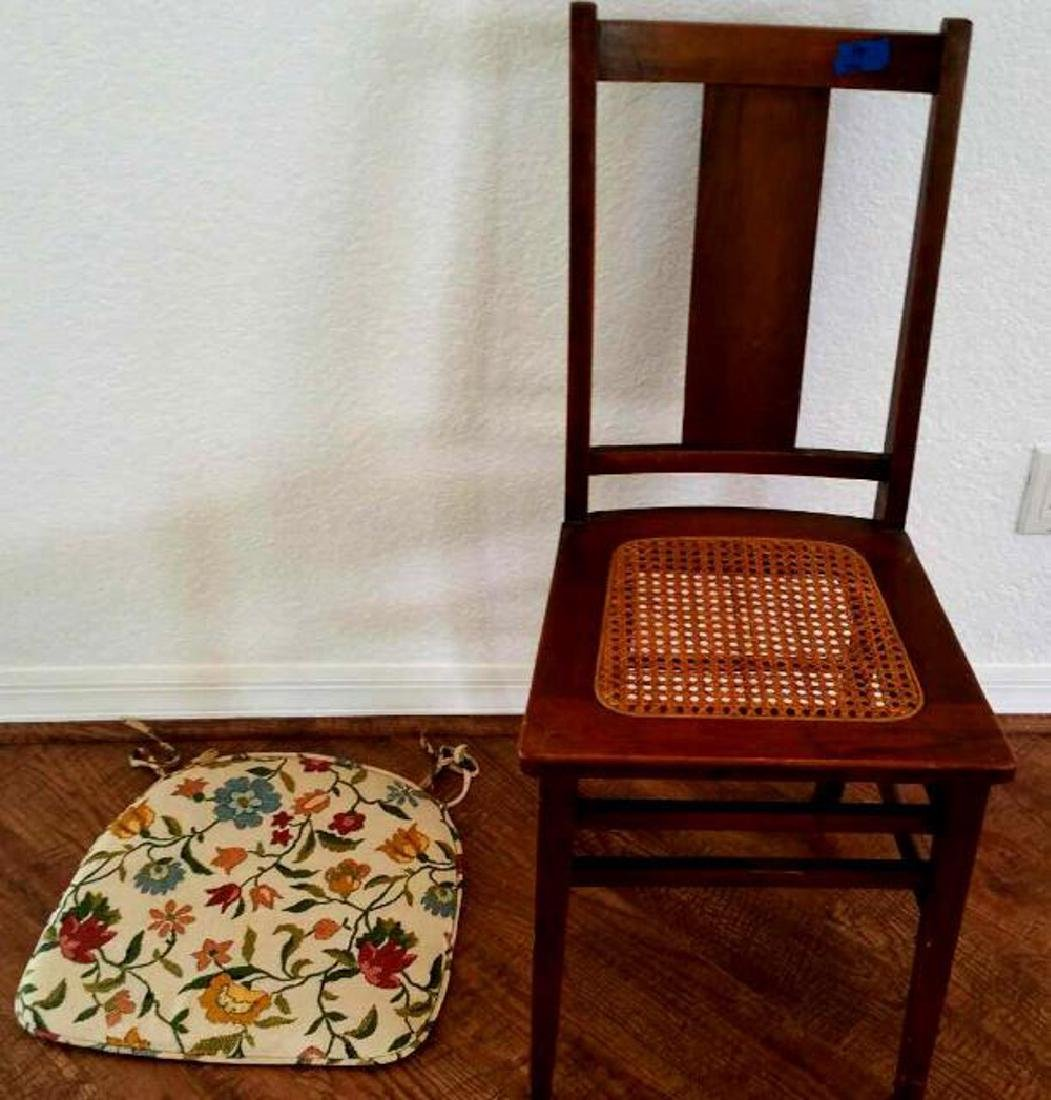 SIMPLE WOOD CHAIR, CANED SEAT