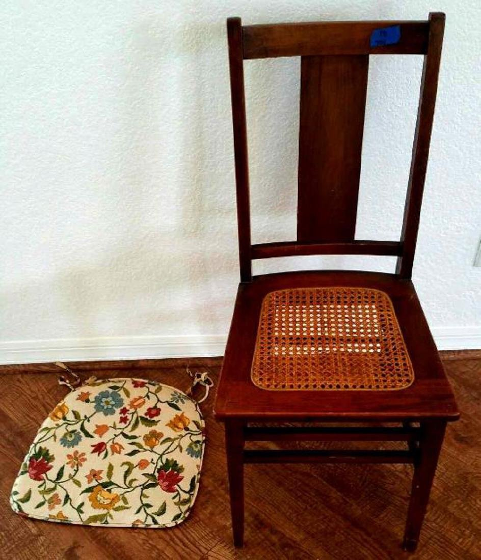 SIMPLE WOOD CHAIR, CANED SEAT - 2