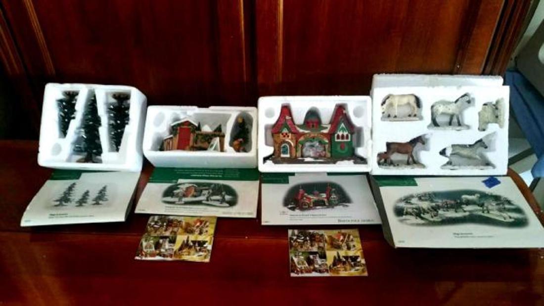 DEPT. 56 Four Boxed Sets of Christmas Porcelain Houses,