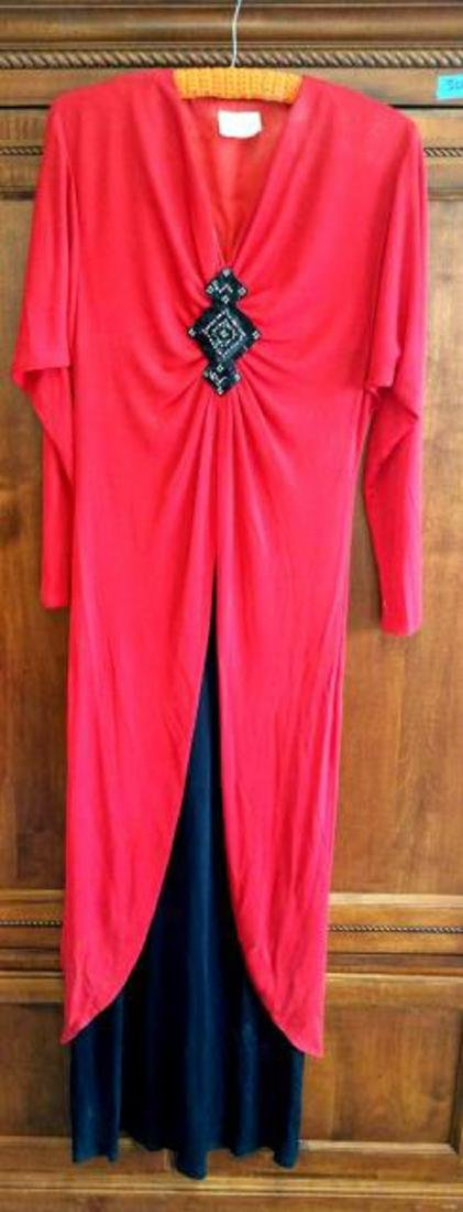 Vintage John Marks London Red Black Evening Wear with