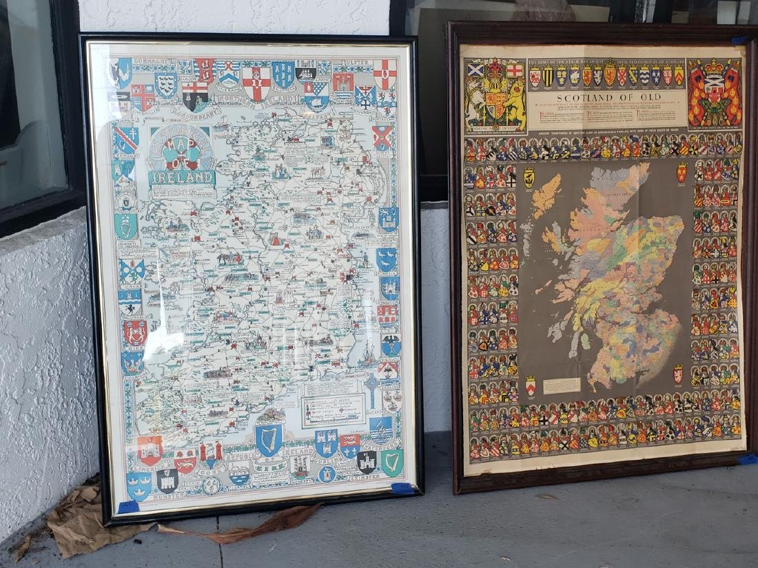 2 MAPS FRAMED, SCOTLAND OF OLD, IRELAND, BULLOCK MAPS