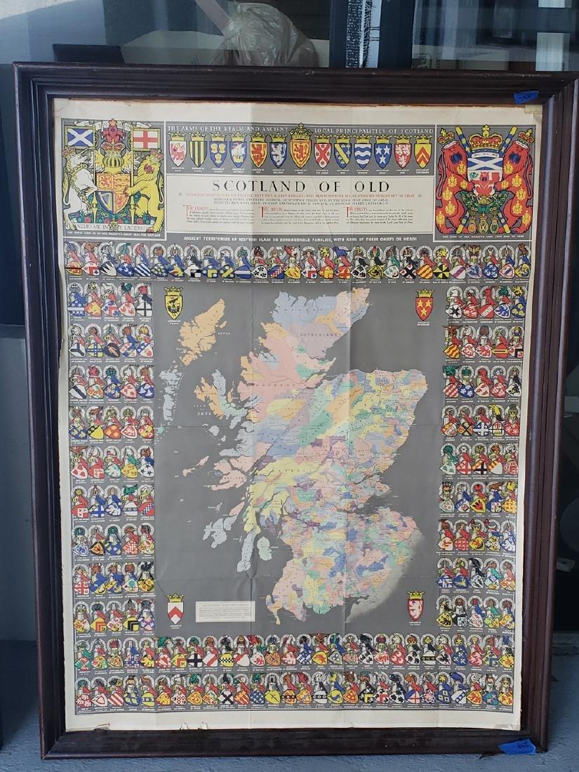 2 MAPS FRAMED, SCOTLAND OF OLD, IRELAND, BULLOCK MAPS - 2