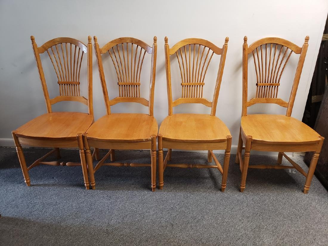 4 CHAIRS - WHEAT SHEAF BACK MAPLE DINING CHAIRS