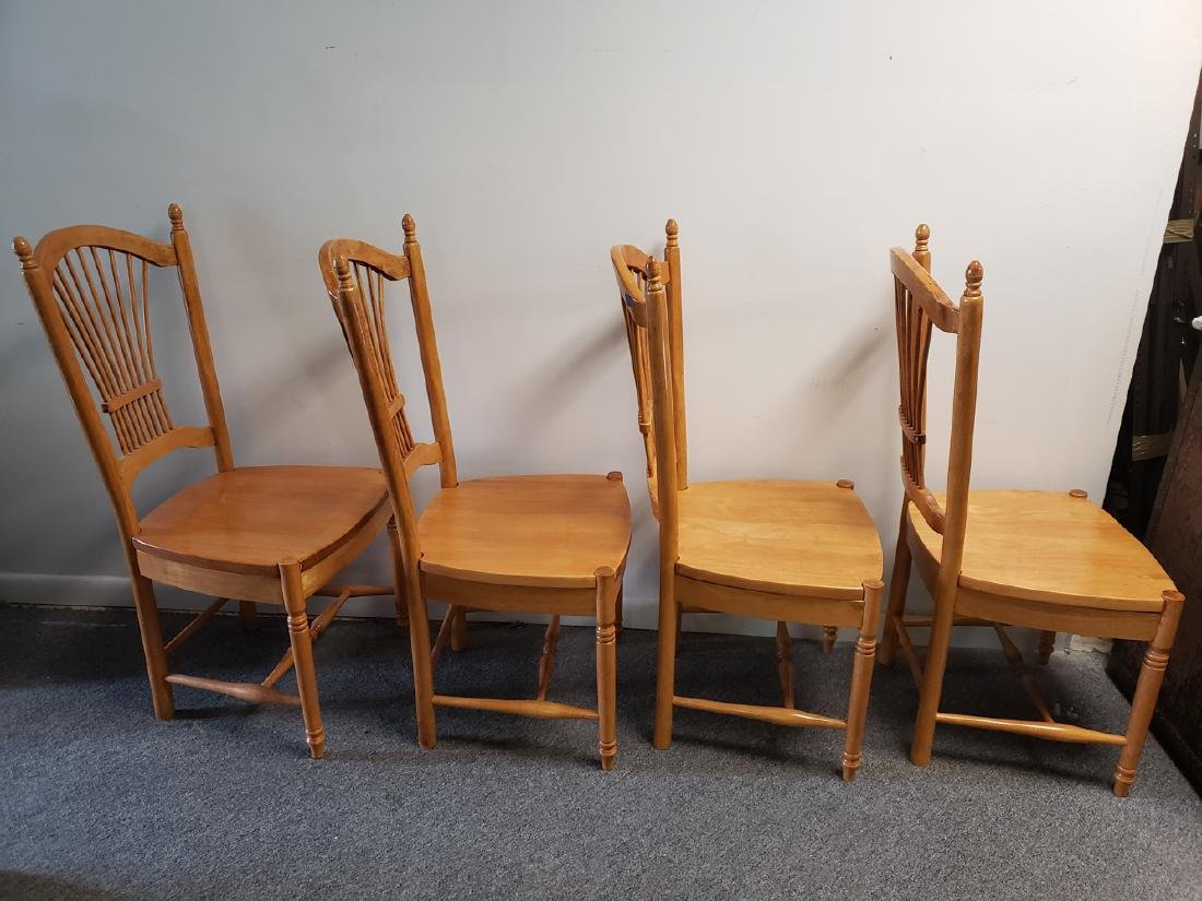 4 CHAIRS - WHEAT SHEAF BACK MAPLE DINING CHAIRS - 2