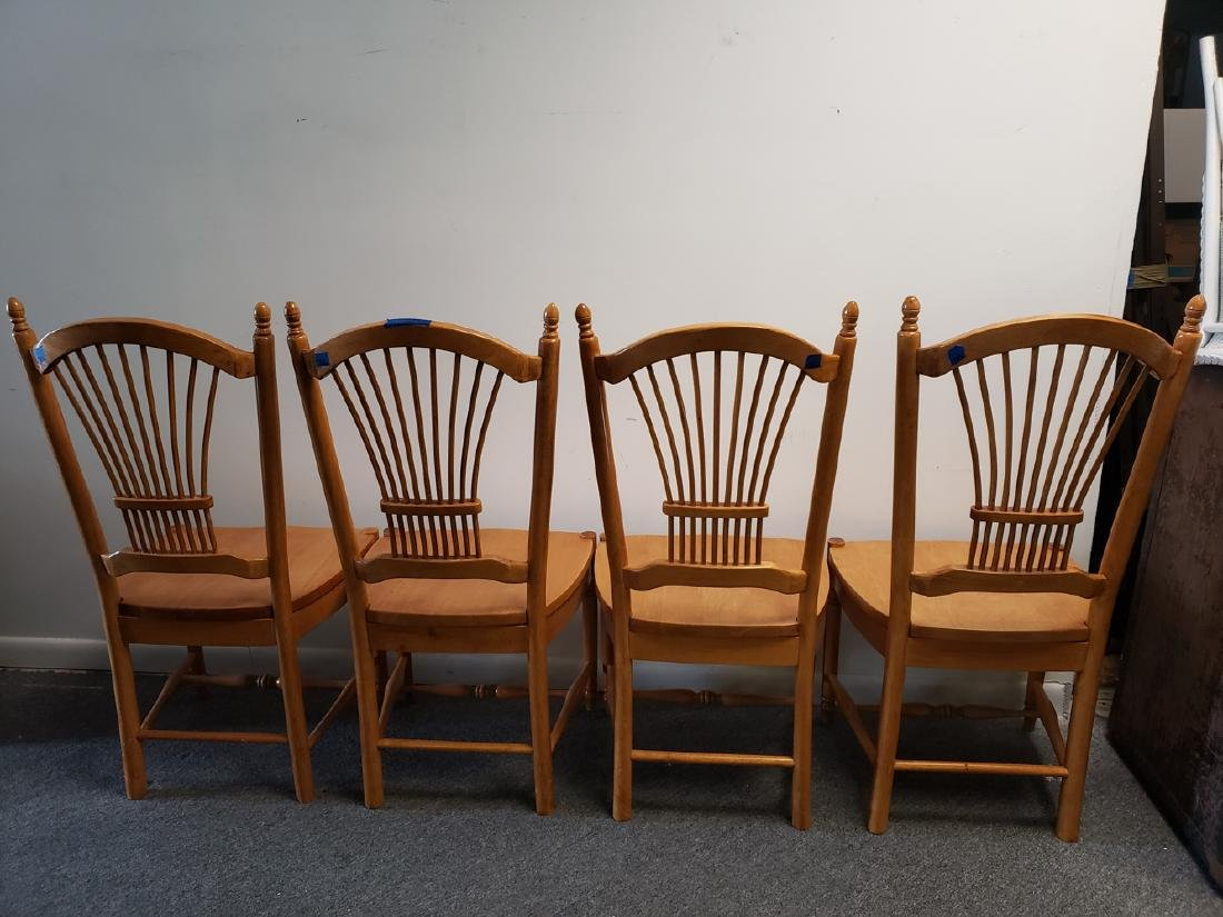4 CHAIRS - WHEAT SHEAF BACK MAPLE DINING CHAIRS - 3