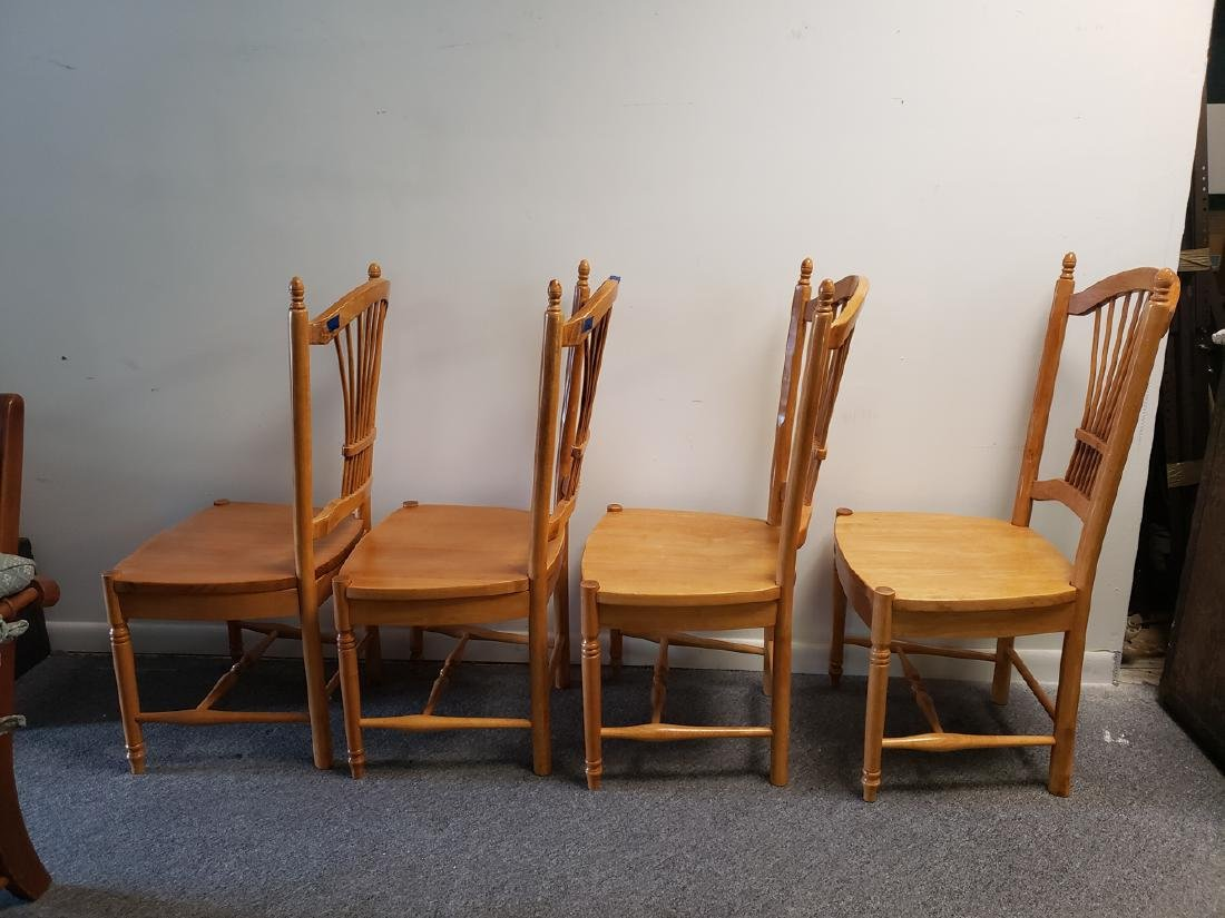 4 CHAIRS - WHEAT SHEAF BACK MAPLE DINING CHAIRS - 4