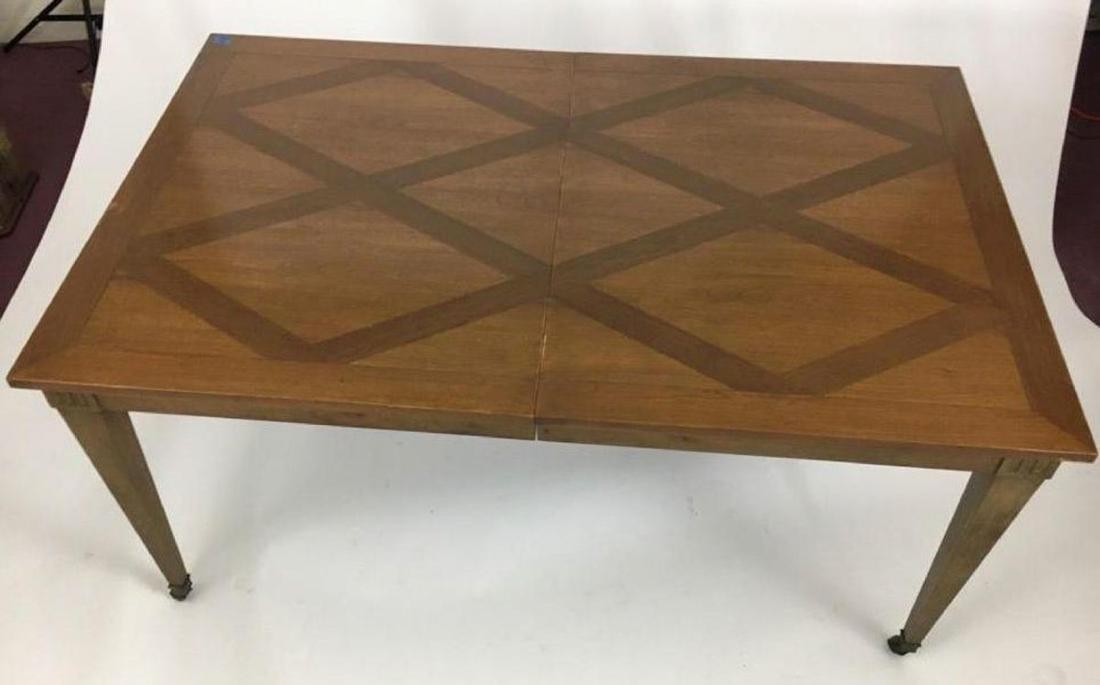 BAKER Vintage Inlaid Diamond Pattern Dining Table