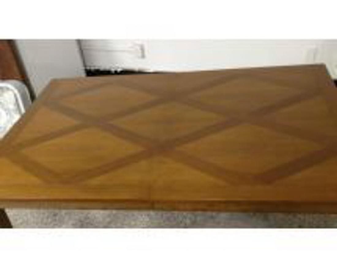 BAKER Vintage Inlaid Diamond Pattern Dining Table - 3